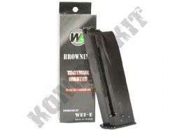 WE Airsoft B001 Browning Hi Power 20 x 6mm Round Gas Magazine Black Metal